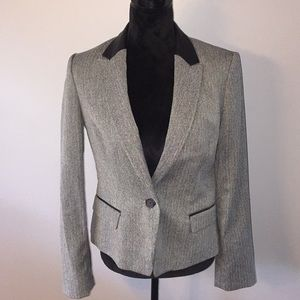 Anne Klein two pocket, leather like trim, blazer